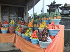 Selection of tropical fruits sold in Bali.