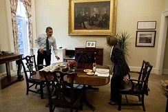 Painting in its current location within the Oval Office Dining Room. Pictured here are Barack Obama and Nancy Pelosi.