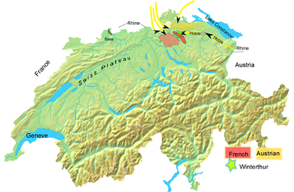 Topographical map of modern Switzerland shows the geographic details of the Swiss plateau, and general locations of the Austrian and French positions.