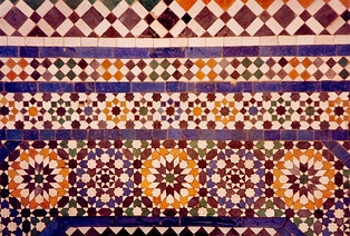 Zellige terracotta tiles in Marrakech, forming edge-to-edge, regular and other tessellations