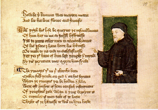 Portrait of Chaucer from a manuscript by Thomas Hoccleve, who may have met Chaucer