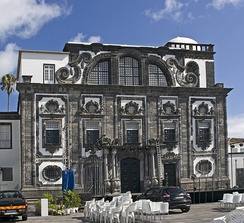 The architecture of the Azores is characterized by the contrast between black volcanic stone and white stucco.