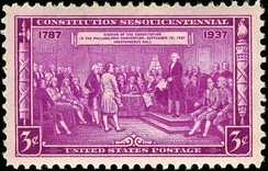 U.S. Postage, Issue of 1937, depicting Delegates at the signing of the Constitution, engraving after a painting by Junius Brutus Stearns[25]