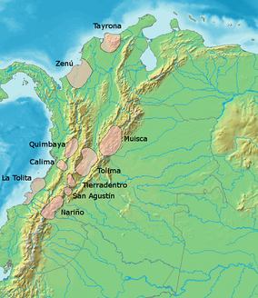 Map of pre-Columbian civilizations. The Panche and Pijao are grouped as Tolima
