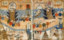 Conquest of Baghdad by the Mongols in 1258. The last Abbasid Caliph, Al-Musta'sim, was murdered.