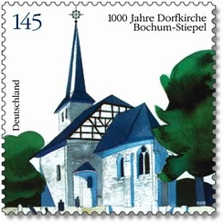 Stamp from 2008 commemorating the 1000th anniversary of Stiepel village church