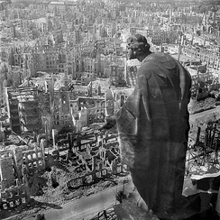 Dresden, 1945, view from the town hall (Rathaus) over the destroyed city (the allegory of goodness in the foreground)