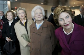 From left to right Rosalynn Carter, Sen. Hillary Clinton, Barbara Bush and first lady Laura Bush at the opening of the Clinton Presidential Center in 2004.