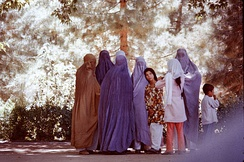 Women wearing burqas of different colors Afghanistan in 1975)