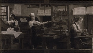 Benjamin Franklin (center) at work on a printing press. Reproduction of a Charles Mills painting by the Detroit Publishing Company.
