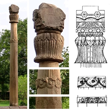 The Heliodorus pillar was built in Vidisha under the Shungas, at the instigation of Heliodorus, ambassador of the Indo-Greek king Antialcidas. The pillar originally supported a statue of Garuda. Established circa 100 BCE.