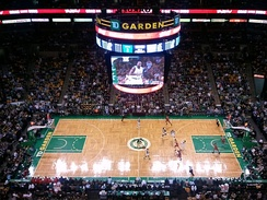 The iconic parquet floor used by the Boston Celtics at TD Garden