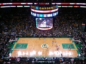The Celtics' trademark parquet floor at the TD Garden in 2010.