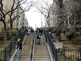 Stairs running from the end of Pinehurst Avenue down to West 181st Street