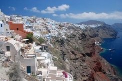 Panorama of Santorini, popular tourist destination