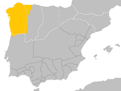 Spoken area of Galician-Portuguese (also known as Old Portuguese or Medieval Galician) in the kingdoms of Galicia and León around the 10th century, before the separation of Galician and Portuguese