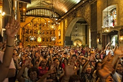 Devotees inside the Basilica del Santo Niño.