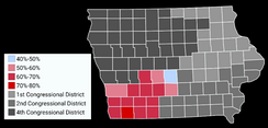 Map showing the results of the 2016 election in Iowa's 3rd congressional district by county