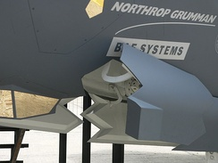The F-35 Lightning II offers better stealthy features (such as this landing gear door) than prior American multi-role fighters, such as the F-16 Fighting Falcon