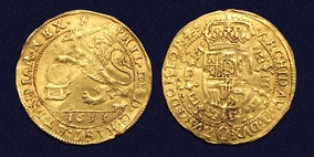 Spanish Netherlands, gold souverain or 'Lion d'or', struck 1633 in Tournai under King Philip IV of Spain. Obv: Crowned lion brandishing a sword, 1633. Rev: Crowned shield of Philip IV within Golden Fleece collar.