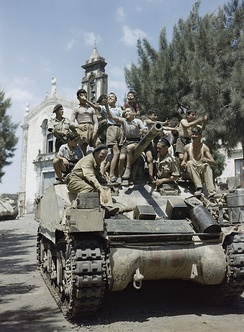 Sherman tank of the 3rd County of London Yeomanry (Sharpshooters) in the village of Milo near Catania, Sicily, August 1943.