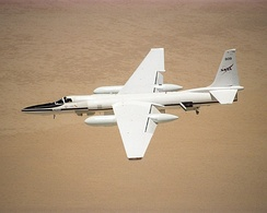One of NASA's ER-2s in flight over the California desert. A NASA ER-2 set the world altitude record for its weight class.