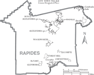 Map of Rapides Parish, with municipal labels