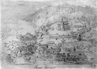 The Mezhyhirya Monastery as drawn by Abraham van Westerveld during the 1650s.