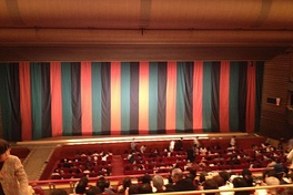 Traditional striped black-red-green curtain, at the Misono-za in Nagoya
