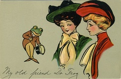 """My Old Friend Dr. Frog"". Promotional postcard for ""Frog In Your Throat"" Company throat medicine"
