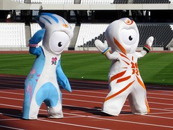 London's Paralympic and Olympic Mascots, Mandeville (left) and Wenlock (right)