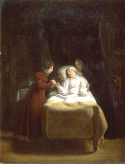 The Duchess of Angoulême at the deathbed of Henry Essex Edgeworth, last confessor to Louis XVI, by Alexandre-Toussaint Menjaud, 1817