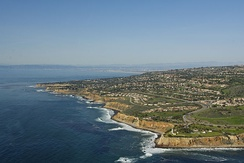 The edge of the Palos Verdes Peninsula extending down to the Pacific Ocean.