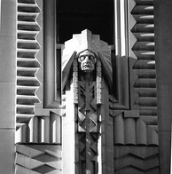 The Indian Chief Relief by Corrado Parducci that is displayed on the facade of the Penobscot Building, the city's tallest building from 1928 to 1977.