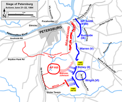 Siege of Petersburg, movements against the railroads and A.P. Hill's counterattack, June 21–22   Confederate   Union