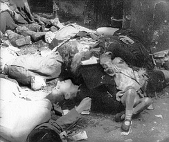 Photograph depicting Polish civilians murdered by German SS forces during the Warsaw Uprising in the Wola district, August 1944