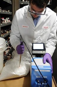 US Food and Drug Administration scientist uses portable near infrared spectroscopy device to detect potentially illegal substances