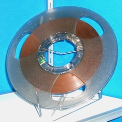 Magnetic tape was commonly used to create master copies.