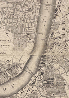 Westminster & Lambeth, 1746. Westminster Bridge, opened in 1740, connects Westminster to Lambeth; Huntley Ferry crosses the river on the site of the future Vauxhall Bridge.