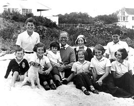 The Kennedy family at Hyannis Port, Massachusetts, in 1931 with Jack Kennedy at top left in white shirt. Ted was born the following year.