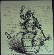American political cartoon titled The Usual Irish Way of Doing Things, depicting a drunken Irishman lighting a powder keg and swinging a bottle. Published in Harper's Weekly, 1871.