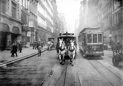 Horse-drawn trams continued to be used in New York City until 1917.