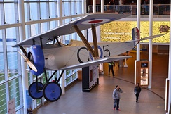 A replica of Billy Bishop's Nieuport 17 inside the Billy Bishop Toronto City Airport terminal