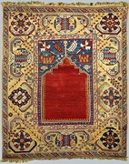 18th-century Turkish prayer rug, Southwestern Turkey (Milas region); National Museum, Warsaw