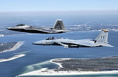 F-15C and F-22A over Tyndall AFB, 2008