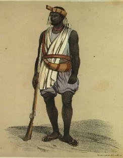 "Wolof of Waalo, in ""war costume"" (1846)"