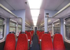 A half internal view of a refurbished East Midlands Trains Class 153