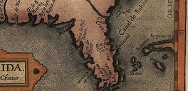 A section of a map from the 1584 edition of Abraham Ortelius's Theatrum Orbis Terrarum, Additamentum III showing the name C. de Cañareal