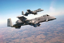 Two A-10 Thunderbolt IIs from the 442d Fighter Wing, fly formation