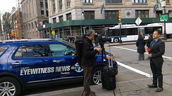 WABC-TV Eyewitness News reporting in Park Row, New York